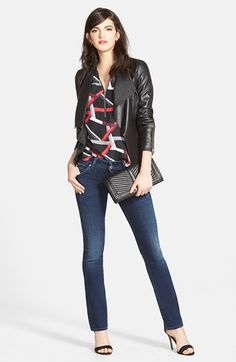 Trouvé Leather Jacket, Zip Neck Top & Hudson Jeans Bootcut Jeans available at #Nordstrom