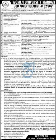 Women University of Mardan Jobs Advertisement No. 02-2021