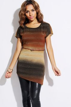 #1015store.com #fashion #style olive/brown ombre metallic striped belted tunic top-$15.00