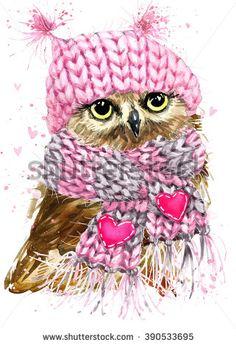 Owl watercolor illustration. Forest Owl. Cute Owl card. Winter holiday card. Forest animal watercolor. Tee Shirt design.