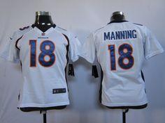 Women's Nike NFL Denver Broncos #18 Peyton Manning White Jerseys