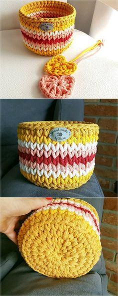 Well, have you ever think about choosing crochet material for the home use? If not, then here we have some outstanding and best ideas of the crochet patterns and designs for you that are incredible to be used for your clothing. Crochet Bowl, Cute Crochet, Knit Crochet, Loom Knitting, Knitting Patterns, Crochet Patterns, Handbag Tutorial, Rope Crafts, Box Patterns