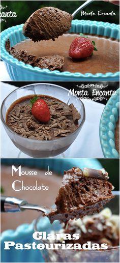 Mousse de Chocolate pasteurizado É chocolate puro, só que macio, aerado, fresco. Tem branco, preto, de nha benta, de kit kat , nutella...show de receita.