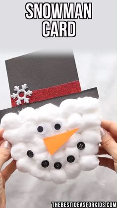 Kids Crafts SNOWMAN CARD - this snowman craft for kids is so fun to make! An easy Christmas craft for kids and is also a Christmas card! Preschool Christmas, Diy Christmas Cards, Christmas Activities, Simple Christmas, Christmas Art, Christmas Gifts, Christmas Holidays, Christmas Cards For Children, Handmade Christmas