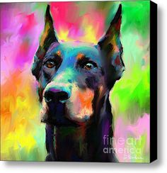 Doberman Pinscher. love this painting!  I would love to have paintings like this of my dogs (Doberman, lab-pit mix, and my rat terrier...)