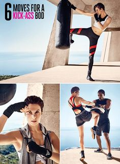 Sculpt lean muscle and torch calories with this supermodel-approved kickboxing workout. The routine was created by ModelFit founder Justin Gelband. Using a bag is optional; if you do, kick or punch it with each rep. Do each move 15 times, then switch sides. To really amp up the workout, repeat the entire sequence one or two more times.