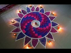 Beautiful Rangoli With Multiple Colours For Competitions and Festivals - Rangoli by Maya! - YouTube