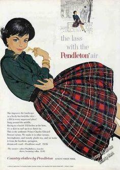 Vintage 1955 Illustrated Ted Rand Girl in Plaid Pendleton Skirt Fashion Print Ad Tartan Fashion, Skirt Fashion, Fashion Outfits, Green Fashion, Fall Fashion, Womens Fashion, Tartan Mode, Tartan Plaid, Black Plaid
