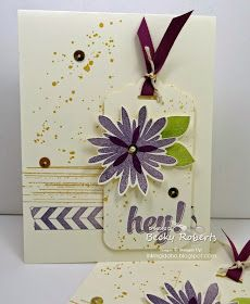 Inking Idaho: Control Freak Swap   Very Vanilla Stamp Set:  Flower Patch, Hi There, Gorgeous Grunge, Tape It Accessories:  Scallop Tag Punch, Blackberry Bliss Ribbon, Gold Sequins, Gold Baker's Twine