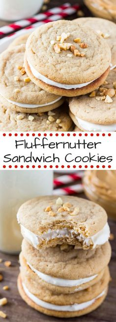 Salty, sweet & so addictive! These fluffernutter sandwich cookies have two chewy peanut butter cookies & fluffy marshmallow frosting!