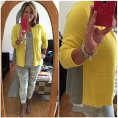 Trying out a Love, Carol item today....the Belle Cardigan is beautiful and gray and yellow...my fave combo!! Paired with Drape Tank (fall15) and Paradise Skinny Jeans (spring15)....summers still having on! ☀️☀️#cabiclothing #carpenterallin #fall15cabicollection #fashion #spring