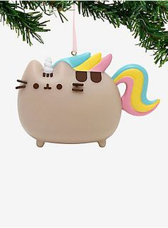 """Add the most magical touch to your tree with this Pusheen ornament featuring the tabby cat as a unicorn.   2"""" tall  PVC  Imported"""