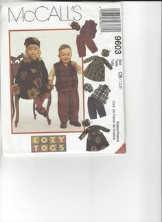 McCall's Pattern 9603 sizes children 1-2-3 UNCUT by SewingasaHobby on Etsy
