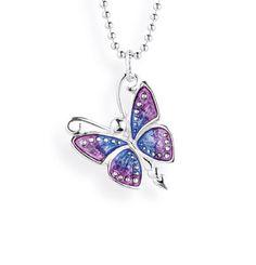 Flying Purple, mittl. Schmetterling Anhänger aus Silber mit Brandlack.