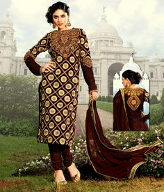 $75.88Brown Georgette Pakistani Style Suit 56755