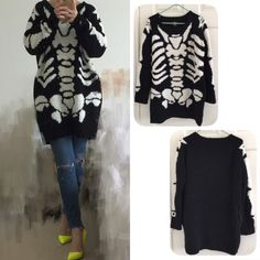 Hyoma SKELETON oversized sweater Worn once,very warm, also fits xs,❌NO TRADE‼️ Hyoma Sweaters