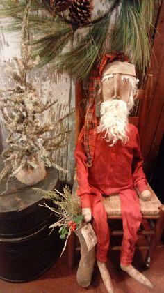 Primitive Santa in Red Union Suit Hinton primitives