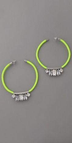 Noir Jewelry Neon Crystal Hoop Earrings - StyleSays