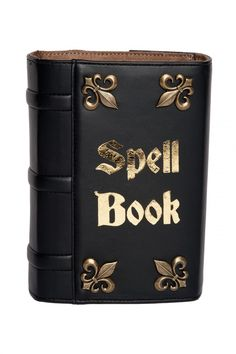 Spell Book Clutch in Black Leather