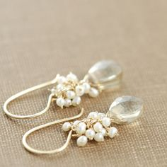 Citrine Seed Pearl Dangle Earrings 14k Gold Fill Wire by aubepine