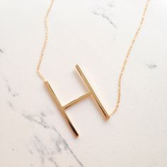Large Initial Gold Necklace | Brit + Co. Shop | DIY Online classes, DIY kits and creative products from makers you'll love.