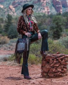 Fall fashion brings out the strong and contrasting colors of the outdoors. Warm and inviting fabrics - always adorned with statement jewelry and audacious accessories. Cowgirl Fashion, Cowgirl Style, Fringe Jacket, Fringe Scarf, Lace Beadwork, Pendleton Woolen Mills, Blanket Coat, Floral Shoulder Bags, Crochet Fringe