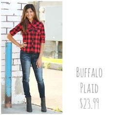 Plaid is so in right now...don't miss out on this favorite!! #fallfashion #denim #moto #jeans #comfy #style #plaid #booties #boots #bts #utahboutiques #shopbellame
