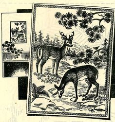 Vintage Embroidery Transfer repo 2237 Deer Buck Doe for picture pillow 14x18 in