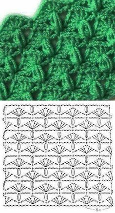 Crochet scarf or blanket with chart or diagram. Puff stitch