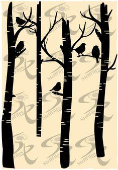 Ideas Bird Vector Free Coloring Pages For 2019 Birch Forest, Birch Branches, Bird Logos, Bird Tree, Tree Silhouette, Bird Drawings, Free Coloring Pages, Digital Image, Vector Art