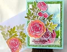 PTI Feb 2014 Blog Hop card # 47. Like the watercolor background. Pretty colors for flowers. Love the matching envelope. . .