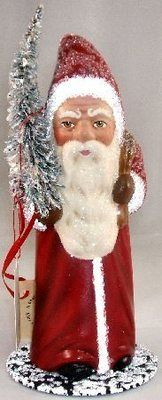 Ino Schaller German Christmas Paper Mache Old Red Santa Candy Container