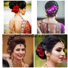 Top 10 South Indian Bridal Hairstyles For Weddings, Engagement etc. - Nischitha - Top 10 South Indian Bridal Hairstyles For Weddings, Engagement etc. Top 10 South Indian Bridal Hairstyles For Weddings, Engagement etc. Old Hairstyles, Elegant Hairstyles, Indian Hairstyles, Vintage Hairstyles, Braided Hairstyles, Undercut Hairstyle, South Indian Wedding Hairstyles, Bollywood Hairstyles, Engagement Hairstyles