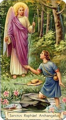 St Raphael, companion of people who need tot travel and as I recently found out, helps to heal ailments of body and soul St Raphael, Novena A San Miguel, Catholic Archangels, San Gabriel, Première Communion, Angel Prayers, My Guardian Angel, Angels Among Us, Angel Cards