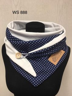 Cloth dots blue with white dots and button/delimade Diy Scarf, Scarf Wrap, Learn To Sew, Neck Warmer, Crochet Designs, Scarves, Etsy, Sewing, My Style