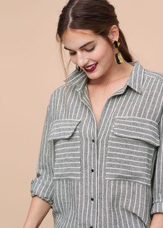 Cotton linen-blend shirt | VIOLETA BY MANGO