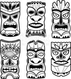 Vector illustration set of cartoon carved Hawaiian tiki god statue black and white masks. Hawaiian Crafts, Hawaiian Tiki, Tiki Tatoo, Mascara Maori, Totem Tiki, Tiki Faces, Tiki Head, Tiki Statues, Folk Art Flowers