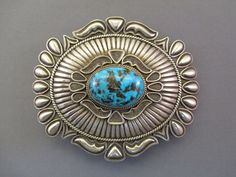 Silver & Turquoise Belt Buckle made by Navajo artist Tom Jim. A GORGEOUS Morenci Turquoise stone set in a heavy-gauge beautiful sterling silver belt buckle-