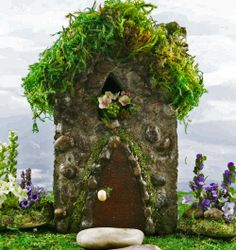 Our miniature Wayside Fairy House in our enchanted fairy gardens.