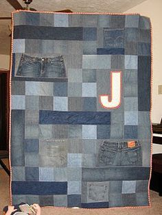 Denim quilt: I like the addition of the initial. Personalize for each boy