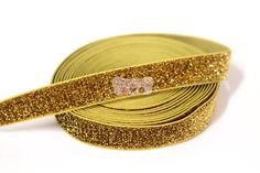 5 Yards 5/8 Gold Glitter Elastic  For Making by wholesaleflowers, $6.50