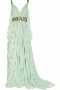 Mint green and gold grecian style dress