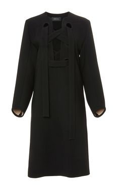 Black Lace Up Shift Dress with Full Sleeves  by Derek Lam Now Available on Moda Operandi