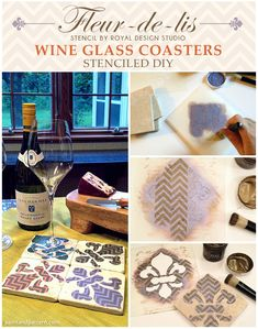 DIY crafting Fleur De Lis stenciled paitned wine glass coasters | Paint + Pattern