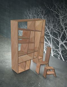 Whimsical bookcases, with built-in chair and stool :)