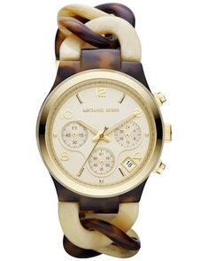 Michael Kors Watch, Women's Chronograph Tortoise and Horn Acetate Bracelet - All Watches - Jewelry & Watches - Macy's Michael Kors Runway Watch, Cream Horns, Jewelry Accessories, Fashion Accessories, Beautiful Watches, Designing Women, Passion For Fashion, Jewelry Watches, Women's Watches