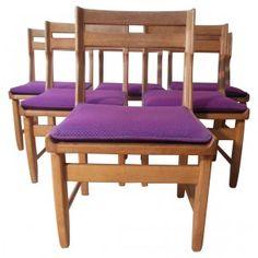 """(1020€) Suite de 6 chaises """"Raphaël"""", GUILLERME et CHAMBRON - années 60"""