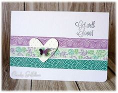 Super quick card to start off a class with a few friends who have never made cards before. Run 3 strips of tape across the card, add one tape across the embossed heart, layer onto card.  Add the greeting and a butterfly...as usual you can see I'm a bit lopsided...ah well. For the Ways to Use it - tapes; and the Free for All - patterns.
