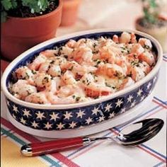 Shrimp Monterey - A mild, fresh-tasting sauce and the Monterey Jack cheese nicely complement the shrimp.  Serve  over pasta or rice.