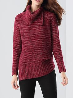 #AdoreWe #StyleWe Sweaters - e.fire Asymmetric Solid Knitted Simple Long Sleeve Sweater - AdoreWe.net